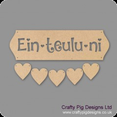 3mm MDF Ein-Teulu-ni - Cut Out Letters And 5 Hearts