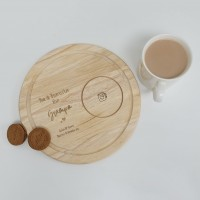 Printed Round Wooden Tea and Biscuits Tray - Engraved Look