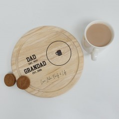Printed Round Wooden Tea and Biscuits Tray - Established Design Fathers Day
