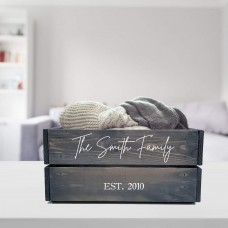 Grey Printed Crate - Family Crate Personalised and Bespoke