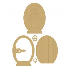 3mm MDF Fairy Door with large hinge, window and handle (4 pieces)(150mm) Fairy Doors and Fairy Shapes
