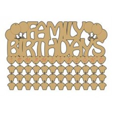 3mm MDF Family Birthdays Sign with cupcakes