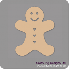 3mm MDF Gingerbread Man (heart buttons) (Pack of 5) Christmas Shapes