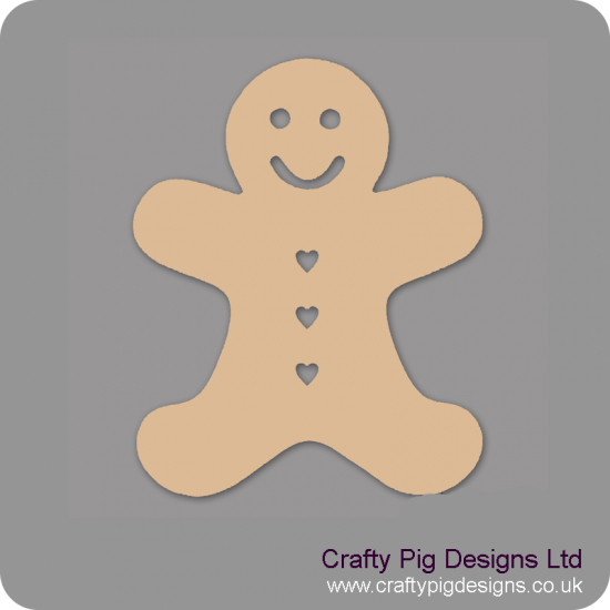 3mm MDF Gingerbread Man (heart buttons) (Pack of 5)