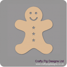 3mm MDF Gingerbread Man (star buttons)  (Pack of 5) Christmas Shapes