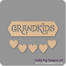 3mm MDF Grandkids Sign - Cut Out Letters And 5 Hearts Quotes & Phrases