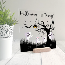 Printed IKEA Ribba or Sannahed Replacement Front Acrylic - Tree and Ghosts Design Halloween