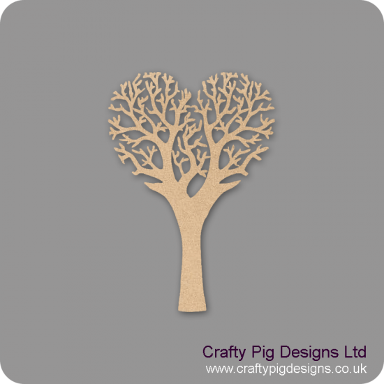3mm MDF Heart Shaped Tree  Trees Freestanding, Flat & Kits