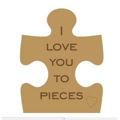 18mm Engraved Jigsaw Piece - I Love You To Pieces
