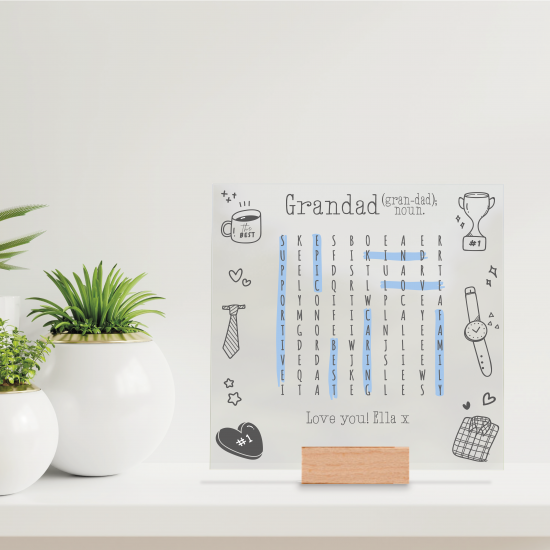 Printed IKEA Ribba or Sannahed Replacement Front Acrylic - Word Search Grandad Design 2021  Fathers Day