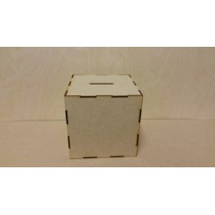 3mm MDF Cube Money Box