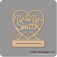 4mm MDF Freestanding Wedding Heart on plinth with Mr & Mrs (Surname) Personalised and Bespoke