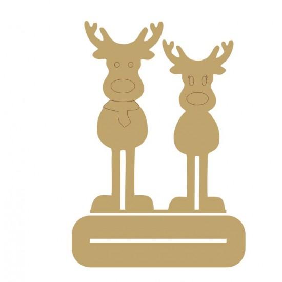 4mm MDF Mr & Mrs Reindeer - Freestanding Christmas Shapes