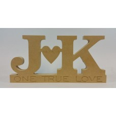 18mm Freestanding Initials And Heart Design (Engraved One True Love) 18mm MDF Engraved Craft Shapes