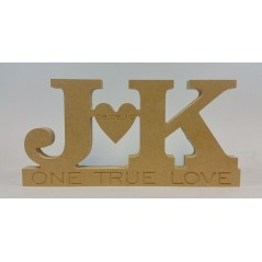 18mm Freestanding Initials And Heart Design (Engraved One True Love)