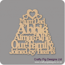 3mm mdf Our Family Joined By Hearts - Personalised Fathers Day