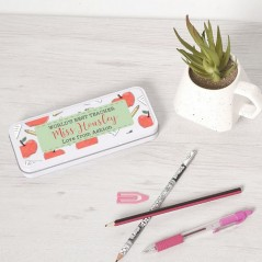 Personalised Printed White Pencil Tin - Apple  and Notebook