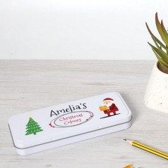 Personalised Printed White Pencil Tin - Christmas