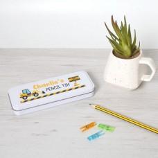 Personalised Printed White Pencil Tin - Digger Personalised and Bespoke