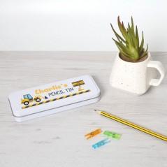 Personalised Printed White Pencil Tin - Digger