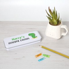 Personalised Printed White Pencil Tin - Dino