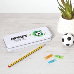 Personalised Printed White Pencil Tin - Football