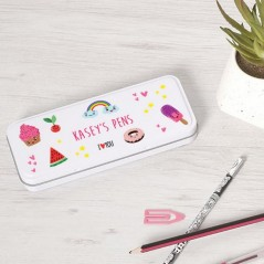 Personalised Printed White Pencil Tin - Girly Design