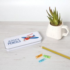 Personalised Printed White Pencil Tin - Plane