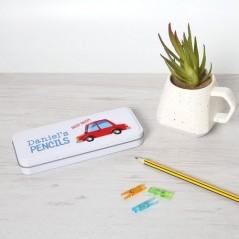 Personalised Printed White Pencil Tin - Car