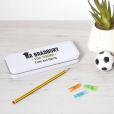 Personalised Printed White Pencil Tin - Teacher Teachers