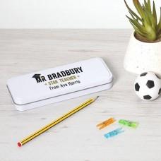 Personalised Printed White Pencil Tin - Teacher Teachers