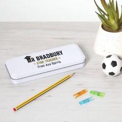 Personalised Printed White Pencil Tin - Teacher