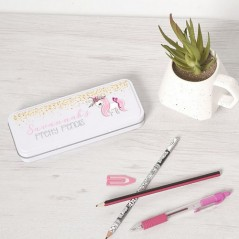 Personalised Printed White Pencil Tin - Glittery Unicorn