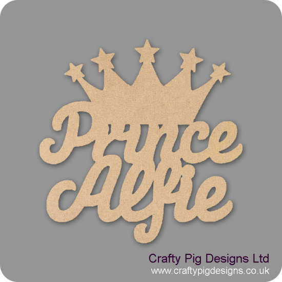 3mm MDF Personalised Prince with crown sign