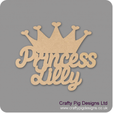 3mm MDF Personalised Princess with crown sign Room & Door Plaques