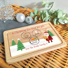 Printed Rectangular Eve Treat Board - Santa & Trees Printed Christmas Eve Treat Boards