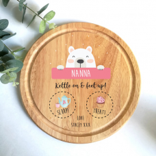 Personalised Round Cake Board -  Bear - Pink Personalised and Bespoke