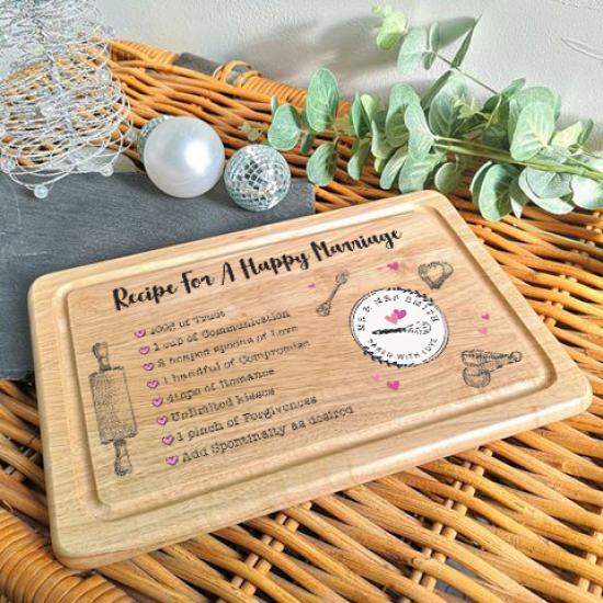 Personalised Rectangular Recipe For A Happy Marriage Board (Kitchen Design) Personalised and Bespoke