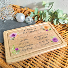 Personalised Rectangular Recipe For A Happy Home Board (Floral Design)