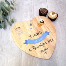 Personalised Heart Cake Board - Tea Pot - Blue Personalised and Bespoke