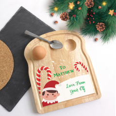 Printed Christmas Elf Egg Breakfast Board Christmas Shapes
