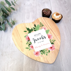 Personalised Heart Cake Board - Wedding