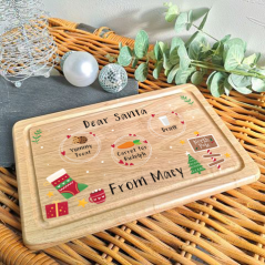 Printed Rectangular Christmas Eve Treat Board - Scandi Design Printed Christmas Eve Treat Boards