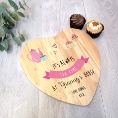 Personalised Heart Cake Board - Tea Pot - Pink
