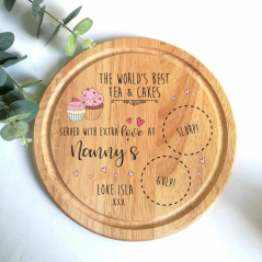 Personalised Round Cake Board - Tea and Cakes - Pink