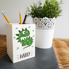 Colour Printed Wooden Pencil Pot -Dinosaur Design Personalised and Bespoke