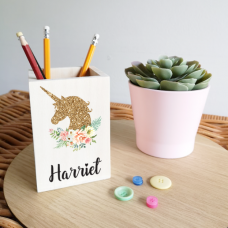 Colour Printed Wooden Pencil Pot -Unicorn Design Personalised and Bespoke