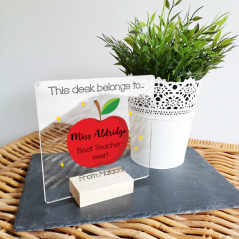 Personalised Acrylic - Apple Design Desk Sign and Oak Stand Teachers