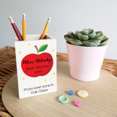 Colour Printed Wooden Pencil Pot - Apple Design Teachers