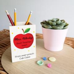 Colour Printed Wooden Pencil Pot - Apple Design